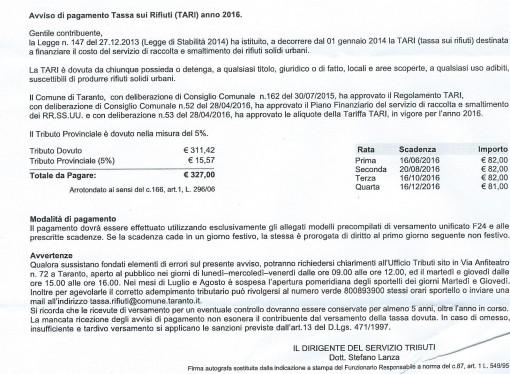Rifiuti, la stangata è servita: ecco le nuove cartelle per pagare il servizio scadente del Comune di Taranto