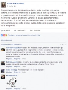 Il post di Fabio Matacchiera, pubblicato stamattina su Fb