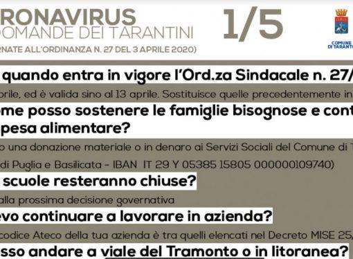 Taranto, ordinanza del sindaco: sostituisce tutte le precedenti. Covid, riepilogo dei divieti (pdf)
