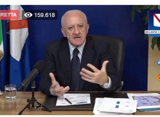 De Luca chiama il Governo: Chiudiamo l'Italia come a marzo. In Campania provvedo io. Siamo ancora in tempo…
