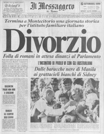 1 dicembre 1970, l'Italia si concede il Divorzio