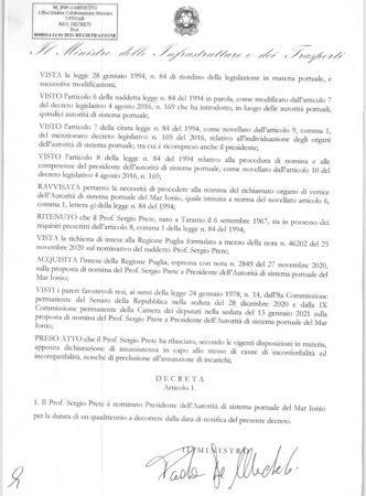 Porto di Taranto, Prete riconfermato presidente dell'Authority