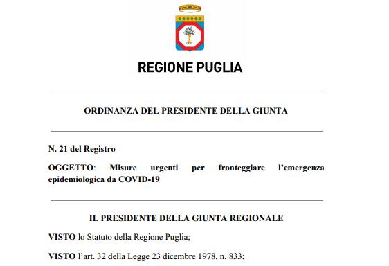 Puglia, così a scuola nei prossimi giorni: la nuova ordinanza (pdf)