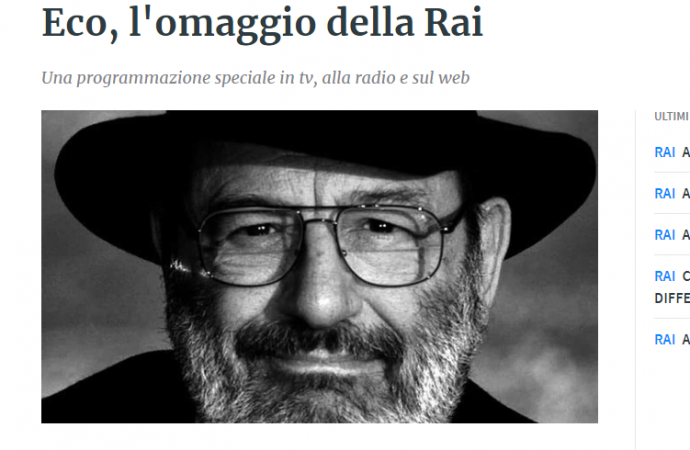 La Rai ricorda Umberto Eco a cinque anni dalla scomparsa