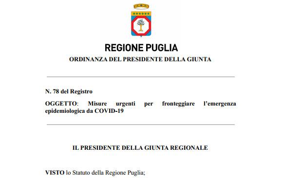 Puglia, revocate recenti ordinanze covid: vale il decreto del Governo per la zona rossa