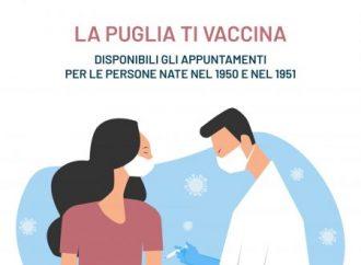 Puglia, da oggi prenotazione vaccino per i nati nel 1950-1951