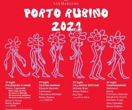 "Porto Rubino: a Campomarino Mahmood, Francesco Bianconi, Giovanni Truppi, Margherita Vicario, Motta e Gino Castaldo <span class=""dashicons dashicons-calendar""></span>"